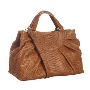 Furla Handbags - Furla Medium Cognac Snake Embossed Rubino Bag