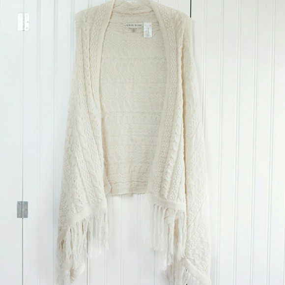 Knox Rose  Sweaters - Open Cardigan with Fringe Knit  Ivory Boho
