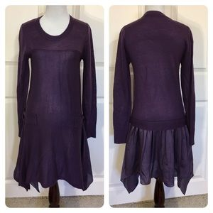 Moma Dresses & Skirts - Moms Purple sweater dress with scarf