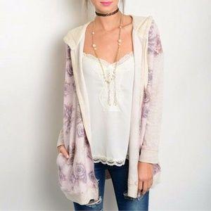 Lavender Rose Print Hoodie