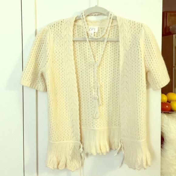 Ann Taylor - Ann Loft cream colored short sleeve shrug sweater ...