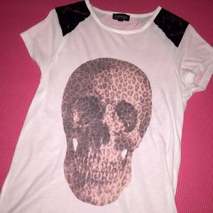 Topshop Tops - Topshop Spiked Shoulders Scull T-shirt