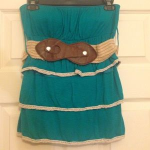 Julia Tops - 🎉HP🎉Strapless Teal Blouse with Brown Belt