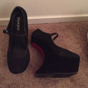 70% off Bumper Shoes - Bumper Heel-less Black velvet with red sole ...