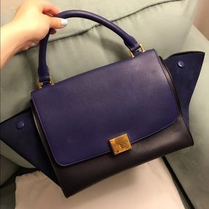 28% off Celine Handbags - Celine Tri-color Trapeze Mini (Navy ...