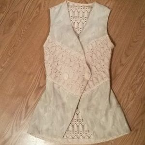 Vintage crochet 80s long vest with cameo buttons