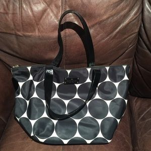Black and white polka-dotted Kate Spade tote