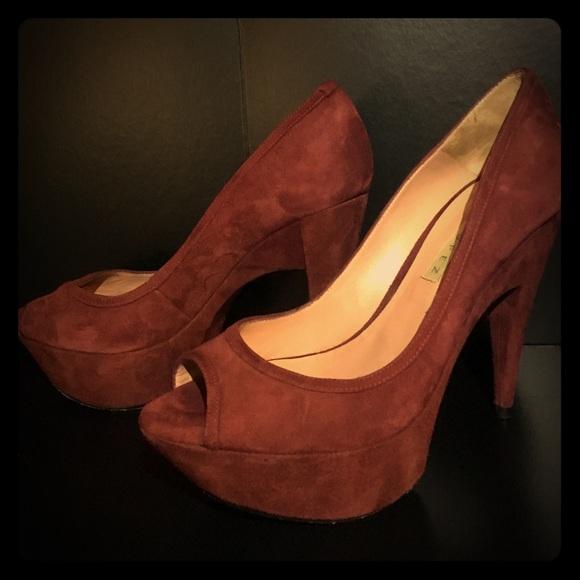 47633cef0 Pura Lopez Shoes   Burgundy Platform Peep Toe Pumps   Poshmark