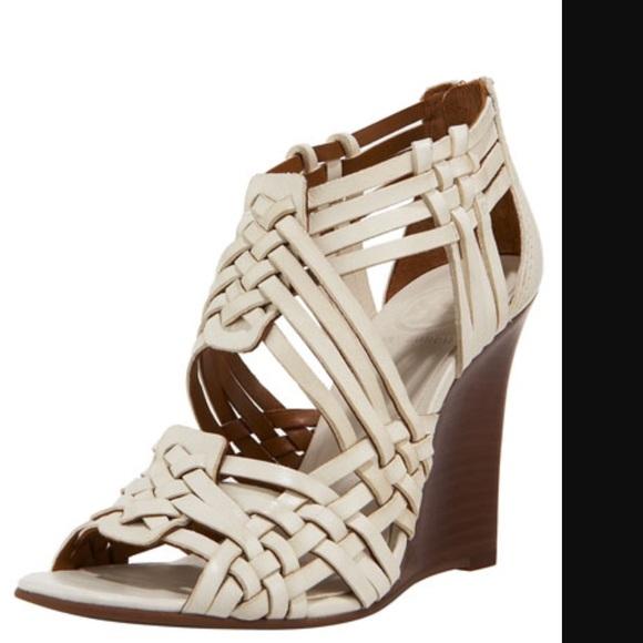 55257b42b36 Tory Burch  Tevray  Woven Leather Wedge Sandal. M 56f2bf4e68027815f503589c