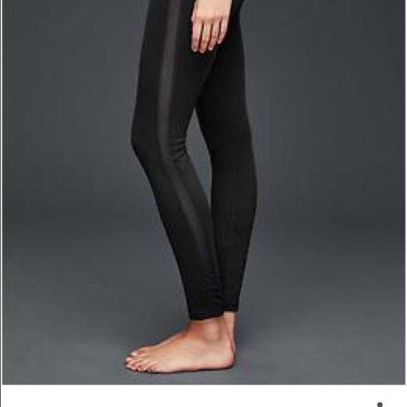 04e494e768220 Old Navy Pants   Black Legging With Faux Leather Side Stripes   Poshmark