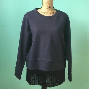 J. Crew Sweaters - J. Crew Navy Fringe Sweatshirt