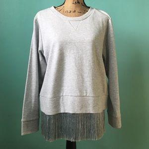 J. Crew Sweaters - J. Crew Gray Fringe Sweatshirt