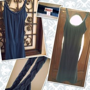 Comfortable Navy blue braided strap sundress. Sz M
