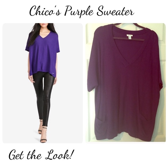 86% off Chico's Sweaters - Chico's plus size Purple Sweater Vneck ...