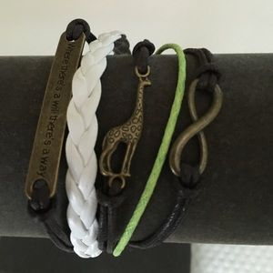 Jewelry - Brown, White and Lime Green Leather Bracelet.