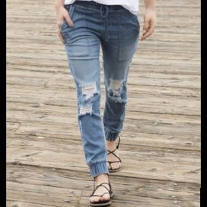 Anthropologie Distressed Denim Pocket Jogger