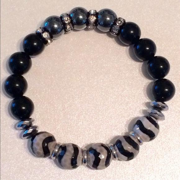 6743976dc889 Stone Groove Designs Jewelry | Zebra Agate Onyx Hematite Beaded ...