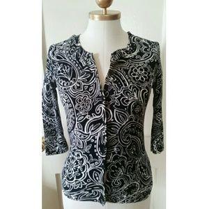 Black and white paisley print cardigan