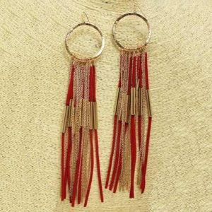 Red/gold tassel earrings