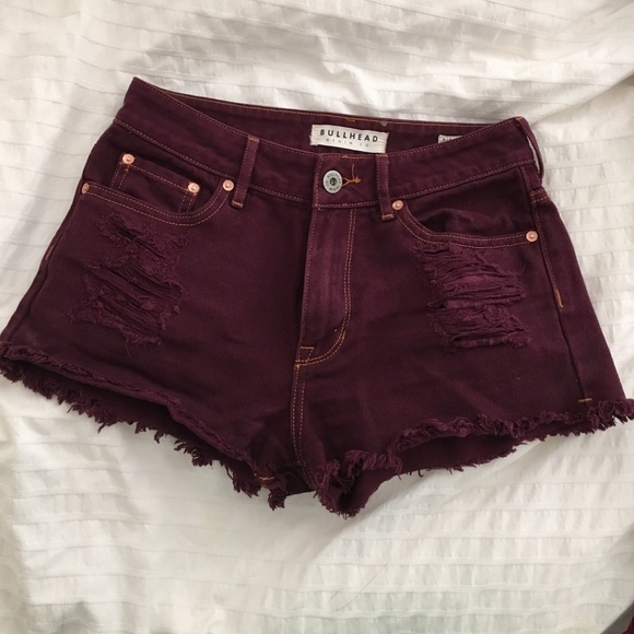 high rise burgundy denim shorts 5 from Lauren's closet on Poshmark
