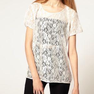White oversized lace shirt