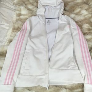 pink and white adidas zip-up
