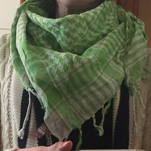Light green & white Arabic style square scarf