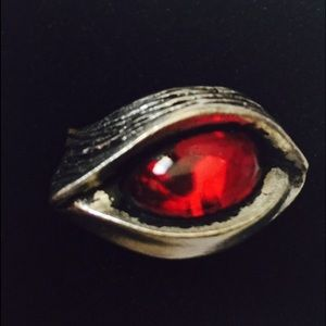 Seeing Red - Handcrafted Pewter Red Eye Ring 7