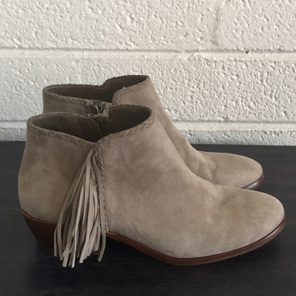 9fd07f24f Sam Edelman Gray Suede Fringe Booties in 2018 My Posh Closet