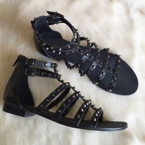 Arturo Chiang Shoes - Black Leather Studded Gladiator Sandals