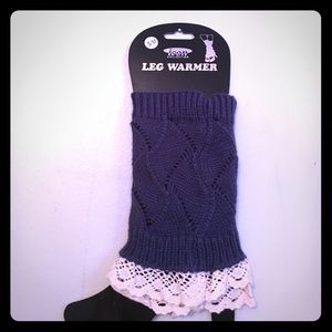 Icon collection boot covers in navy knit with lace