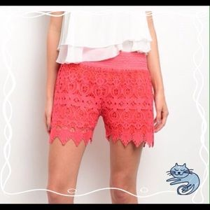 💐HP coral lace shorts