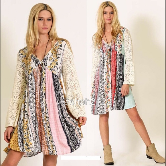 b695db880d2 BOUTIQUE Dresses | Lace Bell Sleeves Printed Mini Dress Tunic Boho ...