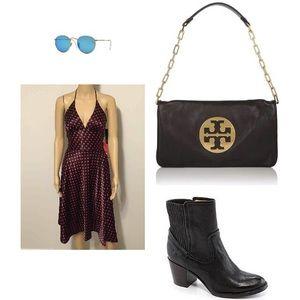 Alyn Paige Dresses & Skirts - Black with red polka dot halter dress