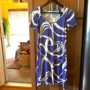 Calvin Klein purple and white abstract dress