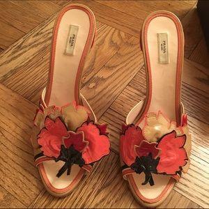 prada saffiano lux tote blue - 84% off Prada Shoes - HP!!! Prada flower heels authentic RARE ...