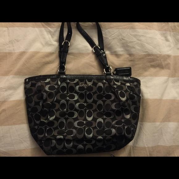 coach bag sale outlet t5nm  coach black and silver purse