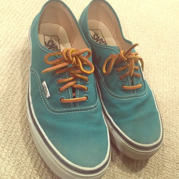 d556e0eeda Green vans with leather laces barely worn! M 56f345fd2599fe391d00710c