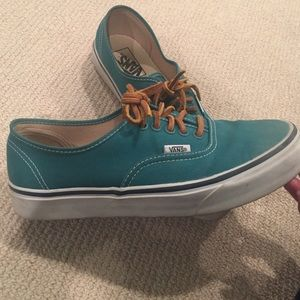 35f7a6f183 Vans Shoes - Green vans with leather laces barely worn!