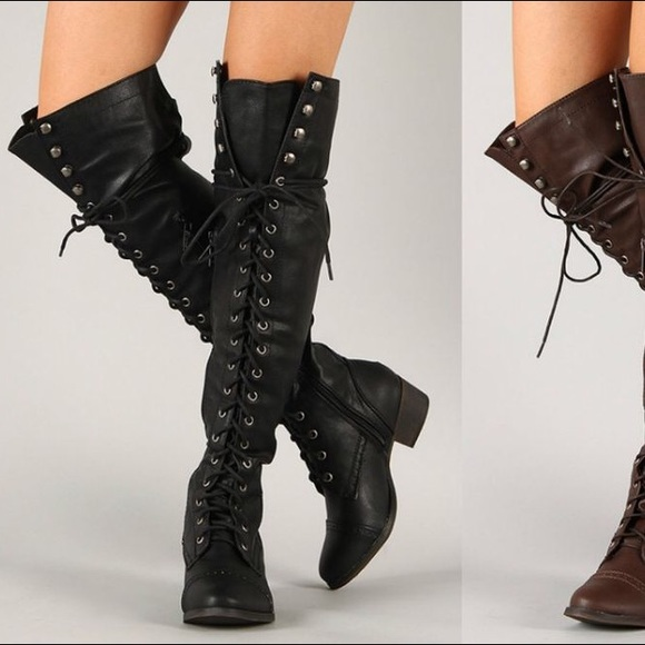 c2b04028466 Free People Shoes - Jeffrey Campbell over the knee combat boots