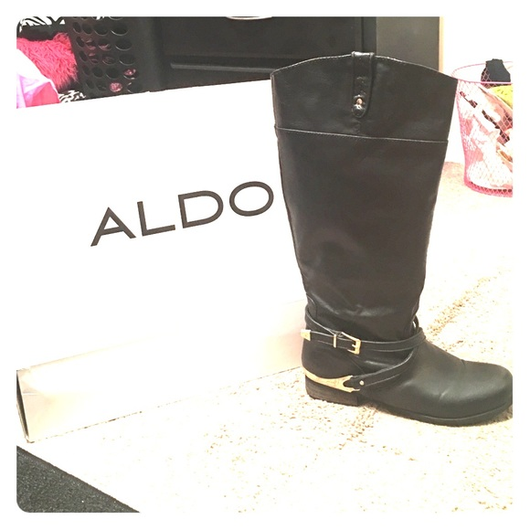 32% off ALDO Shoes - Black riding boots with gold hardware. from ...