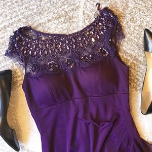 Xscape Dresses & Skirts - PROM! Purple beaded floor length dress