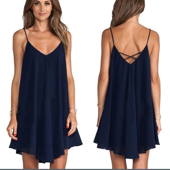6931f2b0801 😱LAST ONE 😱 Navy Blue Flowy Dress