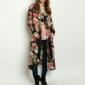 "Tops - ""ROSE"" FLORAL DUSTER"