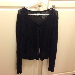 Black crochet cropped cardigan