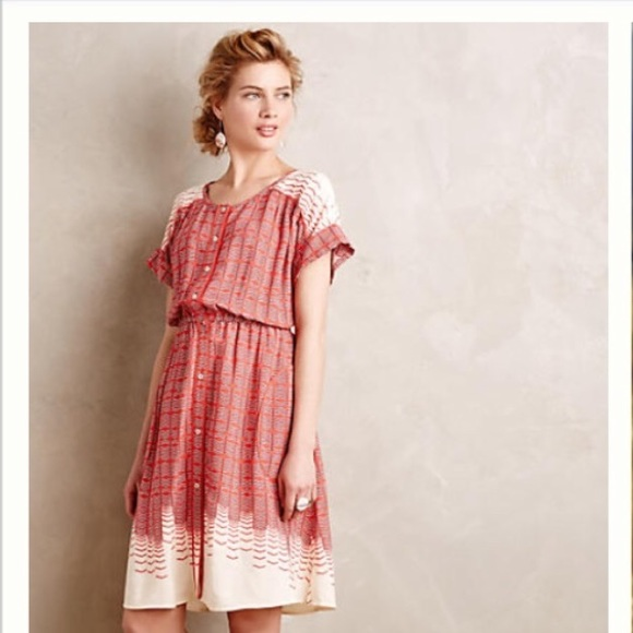 Anthropologie long red dress