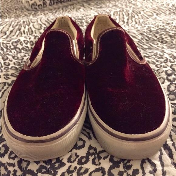 c67c7ee9fa04a7 Burgundy Velvet Slip On Vans Size 7.5. M 56f389456a58304dab0113df