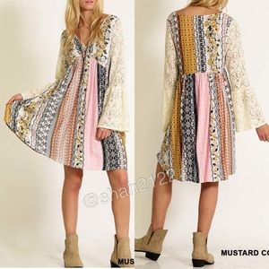 Boutique Dresses & Skirts - lace bell sleeves printed mini dress boho New