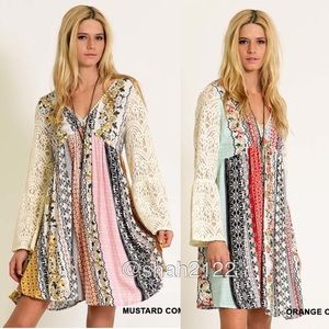 BOUTIQUE Dresses & Skirts - Trendy Bell lace sleeves printed boho dress new