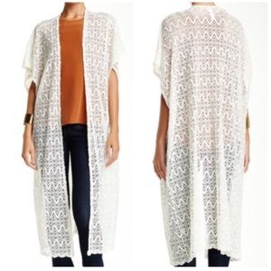 Free Press Crochet Duster, Ivory - Size Small